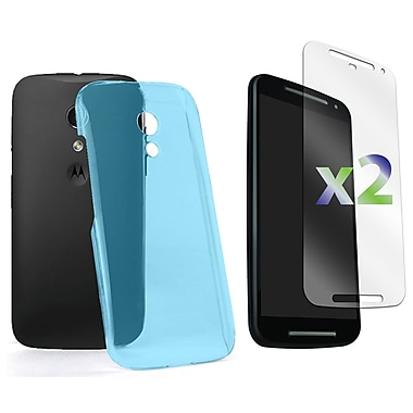 Exian – Étui pour Moto G2, bleu transparent