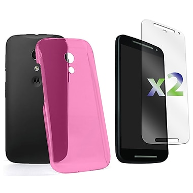 Exian Case for Moto G2, Transparent Hot Pink