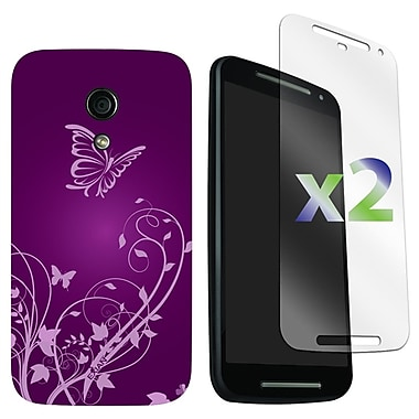 Exian Case for Moto G2, Butterflies & Flowers Purple