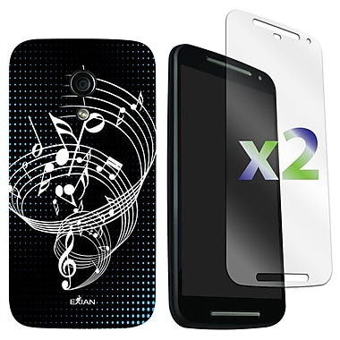 Exian Case for Moto G2, Musical Notes Black