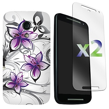 Exian Case for Moto G2, Floral Pattern White & Purple