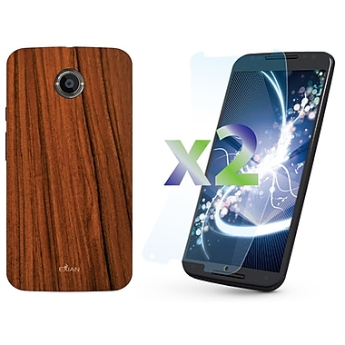 Exian Motorola Moto X 2nd Generation Screen Guards x2 & TPU Case, Wood Grain Pattern