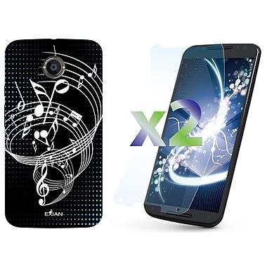 Exian – Étui noir à motif de notes de musique pour Moto X2