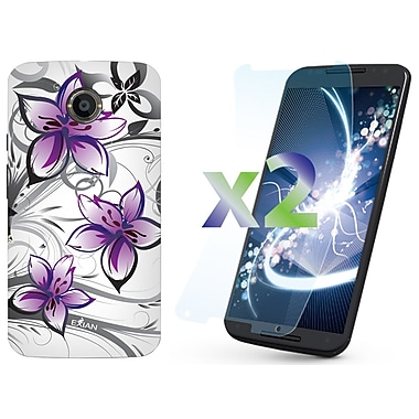Exian Case for Moto X2, Floral Pattern White & Purple