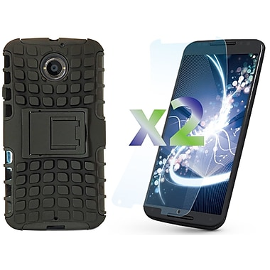 Exian Case for Moto X2, Armored with Stand Black