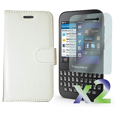 Exian Case for Blackberry Q5, Leather Wallet White