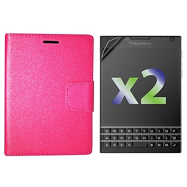 Exian Case for Blackberry Passport Leather Wallet, Hot Pink