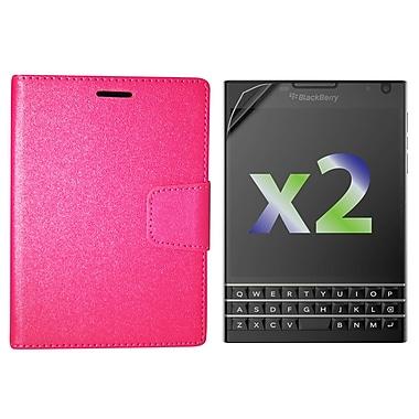 Exian – Étui portefeuille en cuir pour BlackBerry Passport, rose vif