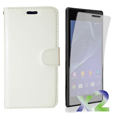 Exian Case for Xperia M2, Leather Wallet White