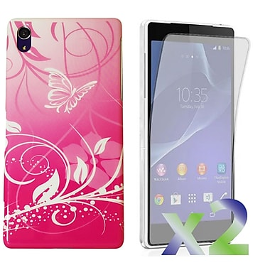 Exian Case for Xperia Z2, Butterflies & Flowers Pink