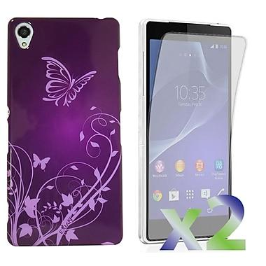 Exian – Étui violet à motifs de papillons et de fleurs pour Xperia Z2