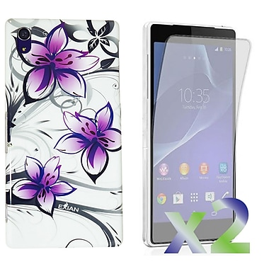 Exian Case for Xperia Z2, Floral Pattern White & Purple