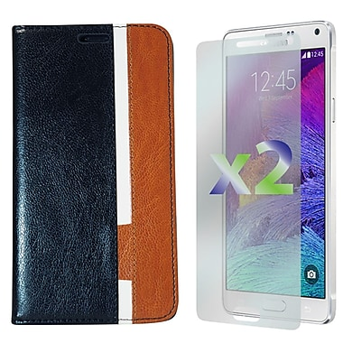 Exian Case for Galaxy Note 4, Leather Wallet Black White Brown