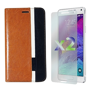 Exian Case for Galaxy Note 4, Leather Wallet Brown White Black