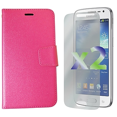 Exian Case for Galaxy Core LTE, Leather Wallet Pink
