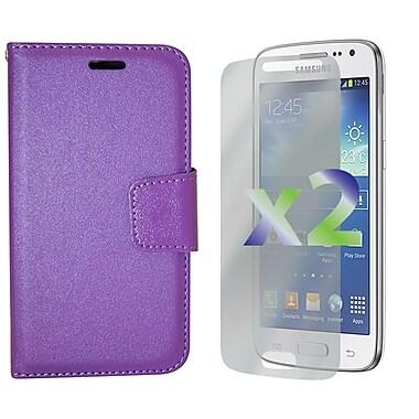 Exian – Étui portefeuille en cuir pour Galaxy Core LTE, violet