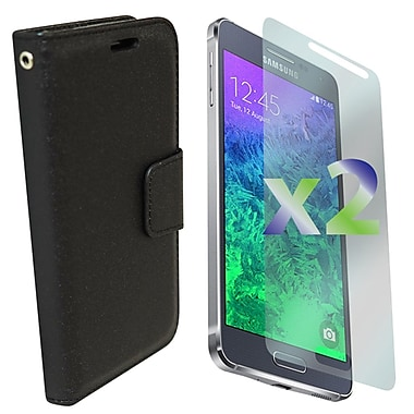Exian Case for Galaxy Alpha, Leather Wallet Black