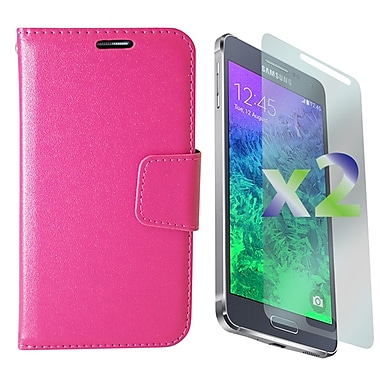 Exian Case for Galaxy Alpha, Leather Wallet Pink
