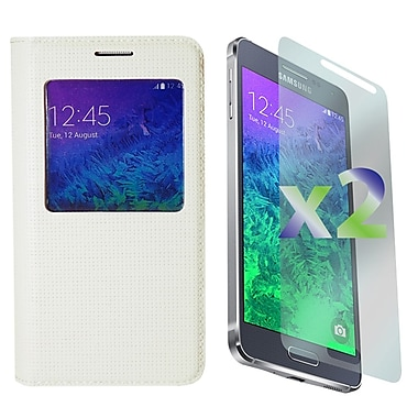 Exian Case for Galaxy Alpha, Flip with Call Access Window White
