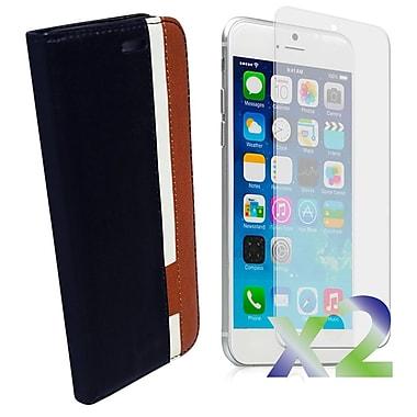 Exian – Étui portefeuille en cuir pour iPhone 6, noir blanc brun