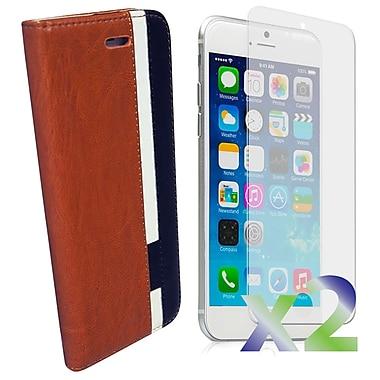 Exian – Étui portefeuille en cuir pour iPhone 6, brun blanc noir
