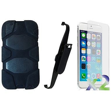 Exian Case for iPhone 6 Plus, Armored with Belt Clip Black