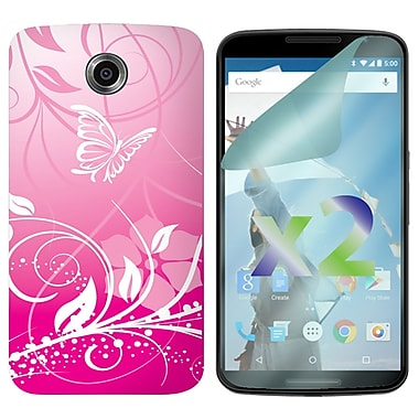 Exian Case for Nexus 6, Butterflies & Flowers Pink