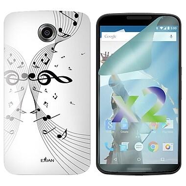 Exian – Étui à motifs de notes de musique pour Nexus 6, blanc