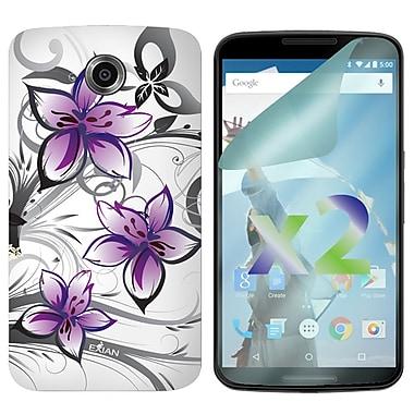 Exian – Étui à motifs floraux pour Nexus 6, blanc et violet