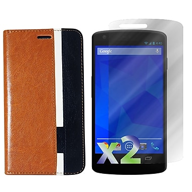 Exian Case for Nexus 5, Leather Wallet Brown White Black