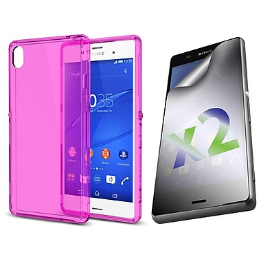 Exian Case for Xperia Z3, Transparent Hot Pink