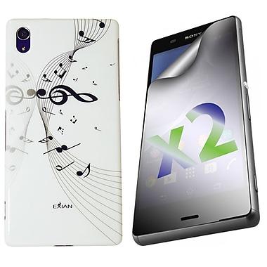 Exian – Étui pour Xperia Z3, notes de musique, blanc