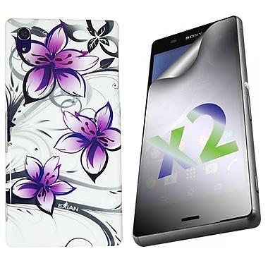 Exian – Étui pour Xperia Z3, motifs floraux, blanc et violet