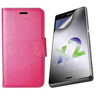 Exian – Étui portefeuille en cuir pour Xperia Z3, rose vif