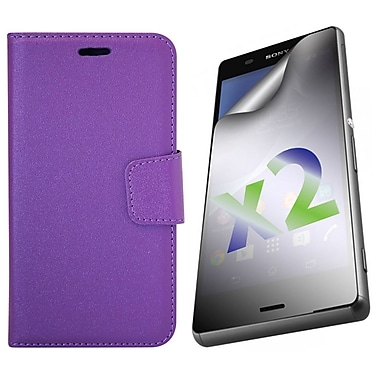 Exian Case for Xperia Z3, Leather Wallet Purple