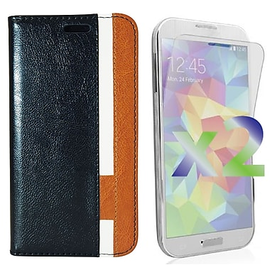 Exian Case for Galaxy S5, Leather Wallet Black White Brown
