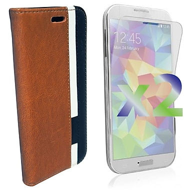 Exian Case for Galaxy S5, Leather Wallet Brown White Black