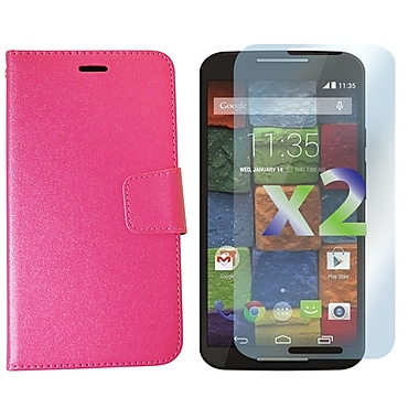 Exian Case for Moto X2, Leather Wallet Hot Pink
