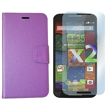 Exian Case for Moto X2, Leather Wallet Purple