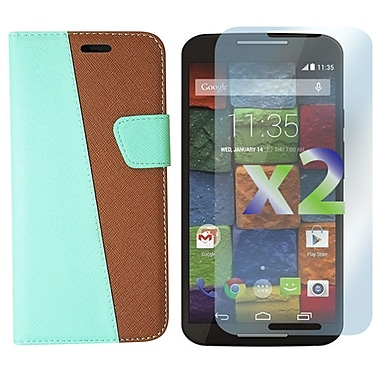 Exian Case for Moto X2, Leather Wallet Green & Brown