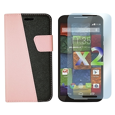 Exian Case for Moto X2, Leather Wallet Pink & Black