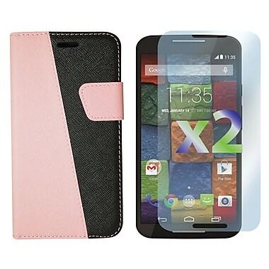 Exian – Étui portefeuille pour Moto X2 en cuir rose et noir