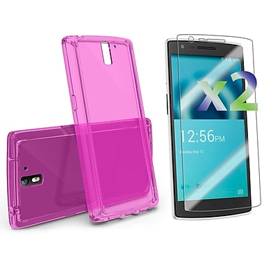 Exian OnePlus One Screen Protectors x2 & TPU Transparent Case, Pink