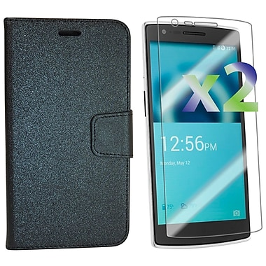 Exian OnePlus One Leather Wallet Case with Screen Protector, Black