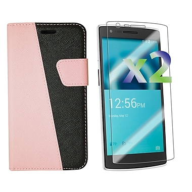 Exian OnePlus One Leather Wallet Case with Screen Protector, Pink