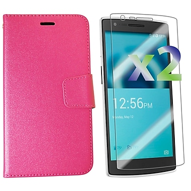 Exian OnePlus One Leather Wallet Case with Screen Protector, Hot Pink