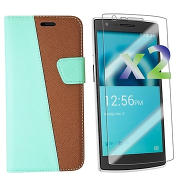 Exian OnePlus One Leather Wallet Case with Screen Protector, Green
