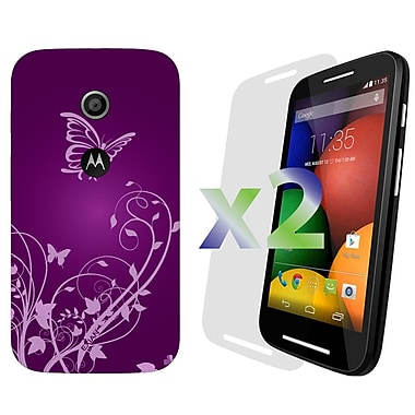 Exian Case for Moto E, Butterflies & Flowers Purple