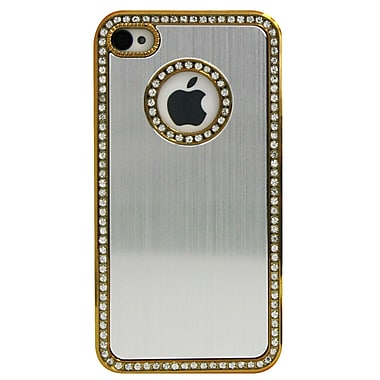 Exian Case for iPhone 4, Silver with Silver Crystals Side