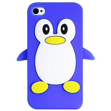 Exian – Étui pour iPhone 4/4s, motif manchot bleu